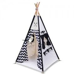 4 Poles Childs Teepee Kids Play Tent Canvas Indoor Outdoor Tipi Playhouse Black