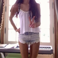 Lace destroyed high waisted shorts that ariana grande wore