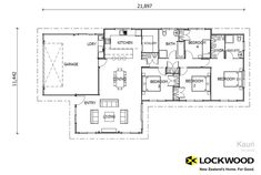 Check out Lockwood's Kauri ReadyPlan plan now. We design and construct modern houses for New Zealand homeowners. Building Plans, Building A House, Round House Plans, New Zealand Houses, Floor Plans, House Design, How To Plan, Small Houses, Little Houses