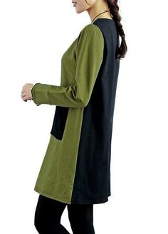 Long Sleeve Green and Black Patchwork Dress | liligal.com - USD $26.73