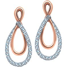 Get a look like Jennifer Garner's with these 0.20 Carat TW, 10k White and rose gold diamond earrings.