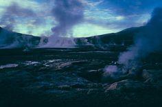 Cordillera de los Andes en el norte de Chile, El Tatio es el campo de geysers más grande del hemisferio sur