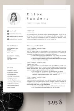 Professional Resume Template | Modern Resume Template for Word | CV Template Cover Letter| Modern Re