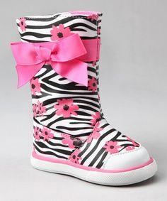 Look at this #zulilyfind! Pink & Black Zebra Tall Rain Boot by Baby Deer #zulilyfinds