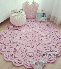Crochet rug crochet carpet doily lace rug by eMDesignBoutique Crochet Doily Rug, Crochet Carpet, Crochet Rug Patterns, Crochet Home, Love Crochet, Beautiful Crochet, Diy Crochet, Irish Crochet, Crochet Stitches