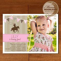 Birthday Party Invitation Digital Printable 5x7 Cowgirl Cow Girl Rodeo Photo Card ( Tan / Khaki, Pink, Brown). $12.00, via Etsy.