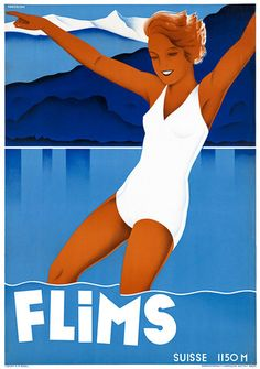 This vintage travel poster is for the Flims resort in Switzerland. The lady in a white bathing suite is swimming in Lake Cauma. Illustrated by Johannes Handschin, 1939.