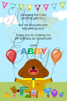 Hey Duggee Thank You Card - Digital File by MyCreatve3dge on Etsy