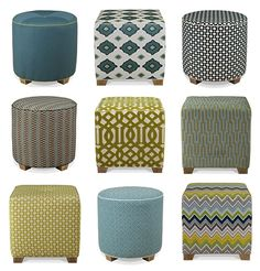 Adorable little ottomans with fabulous Schumacher Fabrics!  Love 'em