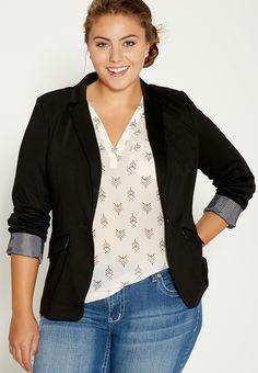 Plus Size Knit Blazer With Striped Cuffs In Black
