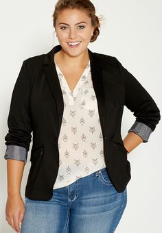 Plus Size Knit Blazer With Striped Cuffs In Black