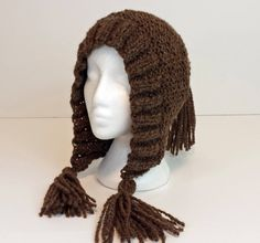 brown hand spun beanie, ear flap beanie, hand knit winter hat, natural wool hooded beanie, womens beanie, gift for her, knitwear by SpunWool by SpunWool on Etsy