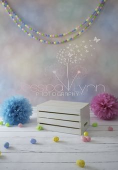 Easter / Spring Mini Session set up for child photography. Backdrop is Easter Bokeh