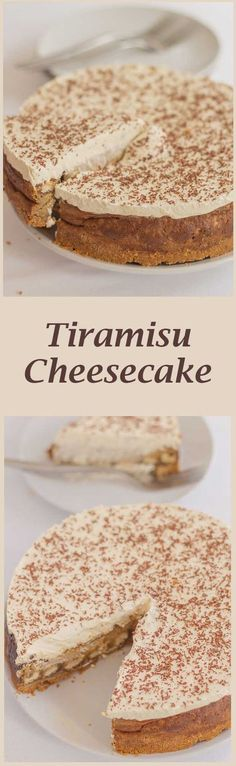 Here, the delicious Italian coffee-flavoured dessert is made into an equally delicious cheesecake. Still indulgent and heavenly tasting, but with a reduced calorific content. Köstliche Desserts, Italian Desserts, Sweet Desserts, Sweet Recipes, Delicious Desserts, Dessert Recipes, Yummy Food, Italian Tiramisu, Food Deserts