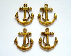 4 Antique Gold Anchor Charms