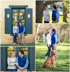 Spring engagement photo session at Ashland The Henry Clay Estate in Lexington, Kentucky.  Puppy, Dog, Golden Retriever, Brick Wall, Trees, Outdoor, Nature, Window, Love, Romantic, Southern Wedding, Kentucky Bride, Style me Pretty, Kiss. Kevin and Anna Photography www.kevinandannaweddings.com