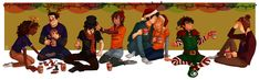 Demigods on holiday by cinash.deviantart.com on @deviantART I adore that Piper is hanging out with Nico and he's away from Percy. I also love that Leo is being bro's with Jason. I like that Piper and Jason don't need one another they're both strong on their own and not everything is about them. Their friends are just as important.
