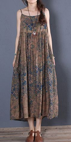 Simple brown prints cotton clothes For Women sleeveless Robe summer Dress - plus size - Summer Dress Outfits Dress Vestidos, Satin Dresses, Cotton Dresses, Women's Dresses, Casual Dresses, Fashion Dresses, Bride Dresses, Simple Summer Dresses, Summer Dress Outfits