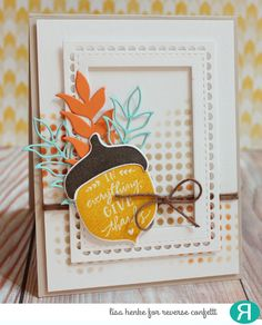 Card by Lisa Henke. Reverse Confetti stamp set: Happy Harvest. Confetti Cuts: Happy Harvest, Lacy Scallop Frames, and Wheat. Other: RC Stencil - Lotsa Dots and White Cloud RC Cardstock. Thanksgiving card. Thank you card.