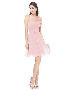 One Shoulder Flowers Pink Padded Ruffles Bridesmaid Dress