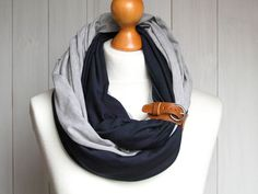 * Here comes a new version of my infinity scarves as a double scarf with leather cuff * It is a combination of two scarves which can be worn separately or together as shown on picture * Tube...