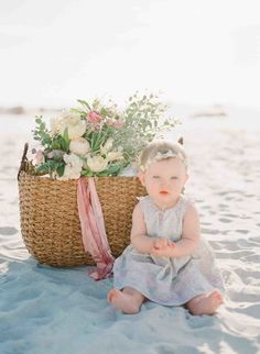 Sweet little one in the sand: http://www.stylemepretty.com/2015/04/20/seaside-bridal-shower/ | Photography: Kaylie B Poplin - http://www.kayliebpoplin.com/