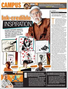 """""""The character developed by Sanika Khodke will add glamour and innocence to any animation film"""" says veteran cartoonist Mangesh Tendulkar while he took a look at the drawings presented by her & Hradini Parikh, our animation students for the Inktober 2016 Drawing Challenge. Click on the images to read the article."""