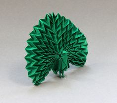 Peacock. Created by Jun Maekawa, folded from 15cm tissue foil