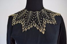 VINTAGE 80s 90s BLACK GOLD EMBROIDERED COLLAR HOLIDAY BLOUSE TOP - SIZE SMALL    eBay