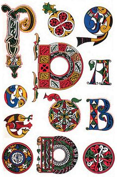 Spanish decorative letters 8th century    Spanish decorative letters derived from a book of the Sacraments.