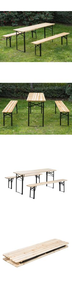 Benches 79678: 3Pcs Wooden Beer Table Bench Set Patio Folding Picnic Table Chair Garden Yard -> BUY IT NOW ONLY: $98.99 on eBay!