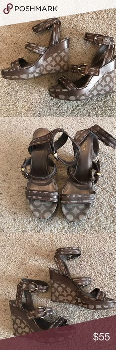 Coach Maralee Wedges Coach Maralee Wedges with Signatures Coach Fabric with Bronze leather trim in Size 9. These shoes are very cute and the wedge actually make them comfortable. Coach Shoes Wedges