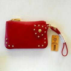 Tory Burch Red Heart Wristlet New with tags great statement wrislet studded heart can be a clutch trade value 150 Tory Burch Bags Clutches & Wristlets
