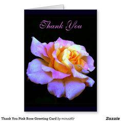 Thank You Pink Rose Greeting Card
