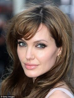 Famous features: Men also love the forehead of Jennifer Aniston and Angelina Jolie's cheekbones - as well as her famously full lips