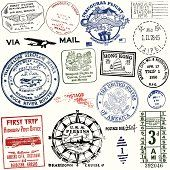 Vector art: Vintage postcard and travel stamps Decoupage Vintage, Vintage Stamps, Decoupage Paper, Vintage Labels, Vintage Cards, Travel Stamp, Tattoo Signs, Calendar Pages, Scrapbooking Layouts