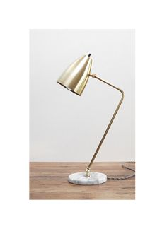 Modern White Marble and Solid Brass Table Lamp  by PhotonicStudio