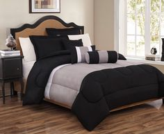 6 Piece Full Tranquil Black and Gray Comforter Set | eBay