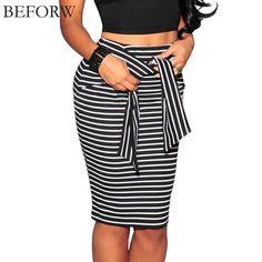 Beforw marca faldas para mujer de la raya de la alta cintura cordón de la falda más el Tamaño Blanco Y Negro Sexy Bodycon Falda Larga Para mujeres