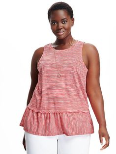 Relaxed Peplum Plus-Sized Tank