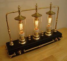 Steampunk Table Art Lamp, Mad Scientist, 3 Edison Bulbs, Lots of Brass, Dimmer! Steampunk Design, Steampunk Lamp, Desk Lamp, Table Lamp, Art Desk, Light Fittings, Light Fixtures, Steampunk Furniture, Diesel Punk