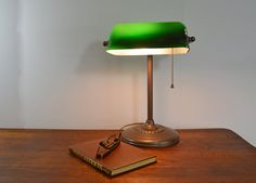 Art Deco Bankers Lamp Metal Base Reading Lamp by Vintassentials