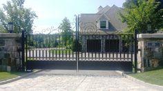 Decorative automated wrought iron gate