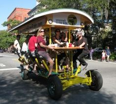in Savannah, Ga.  Sounds so awesome.  Savannah Slow Ride is the eco-friendly way to see Savannah. Our sixteen person bicycle excursion (you read that right, 16 people on one bike!) takes you through beautiful historic downtown
