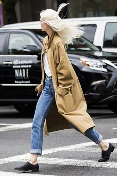 long coat + oxfords + denim