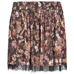 MANGO Lace Appliqué Floral Skirt ($40) ❤ liked on Polyvore featuring skirts, bottoms, black, circle skirts, floral print skater skirt, floral skater skirts, floral skirt and smocked waist skirt