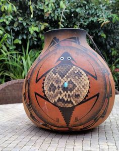 "ROBERT RIVERA SIGNED,HANDPAINTED GOURD "" HORNY TOAD"" #NaivePrimitive"
