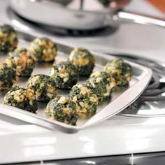 Makeover Garlic Spinach Balls Recipe from Taste of Home -- submitted by Amy Hornbuckle of Prattville, Alabama