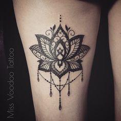 Miss voodoo tattoo Tattoo Henna, Lace Tattoo, Lotus Tattoo, Tatoo Art, Mandala Tattoo, Lotus Mandala, Flower Mandala, Lotus Flower, Up Tattoos