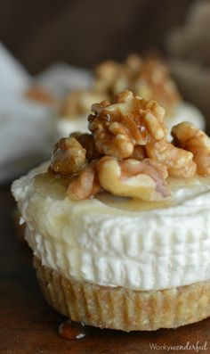 Gluten Free No Bake Cheesecake with Ricotta Honey and Walnuts : Mini Ricotta Cheesecakes with Walnut Crust : No refined sugar Dessert Recipe...